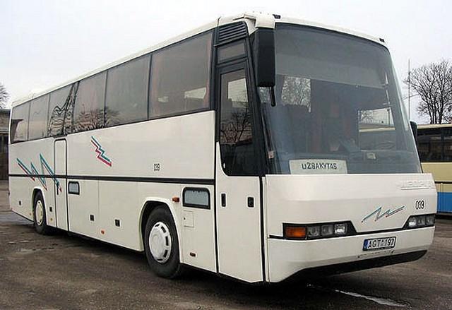 Autobusas NEOPLAN. WC, oro kondicionierius, garso aparatūra (audio, video, CD), mikrofonas, virdulys, atlenkiamos sėdynės, šaldytuvas, bagažo skyrius. Sėdimų vietų skaičius 42.